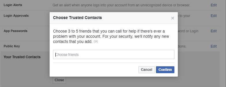 Example Facebook Choose Trusted Contacts