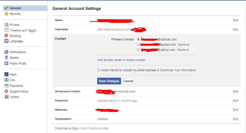 Example Facebook General account settings