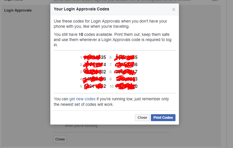 Example-Facebook Login Approval codes