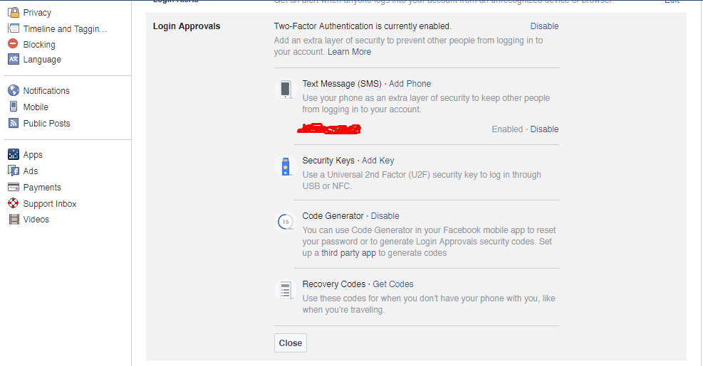 Example Facebook Login Approvals