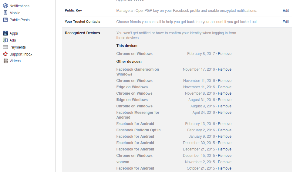 Example Facebook Recognice Devices
