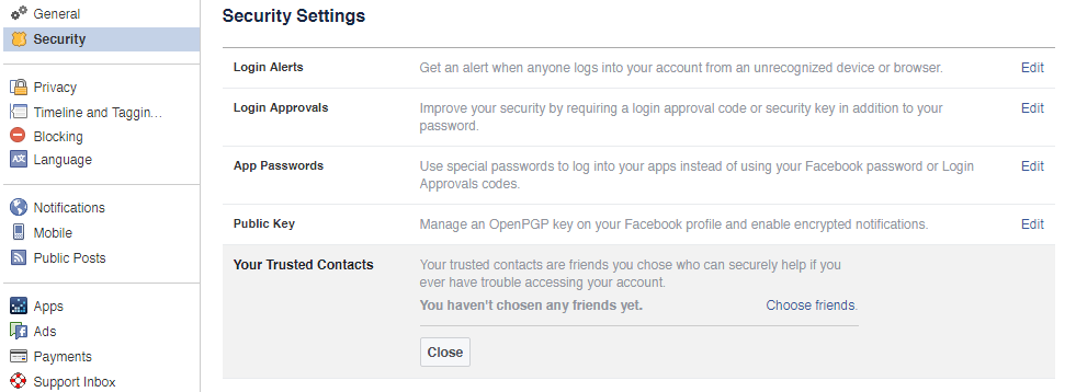Example Facebook Security Settings 02