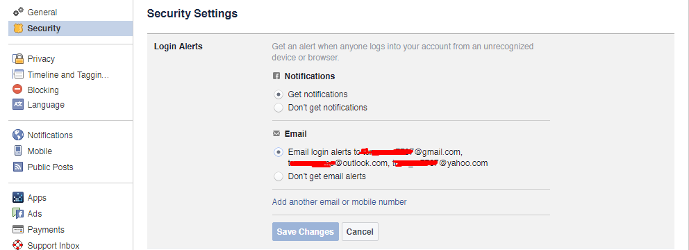 Example Facebook Security Settings