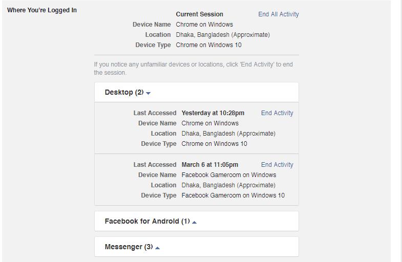Example Facebook Where You're Loggedin