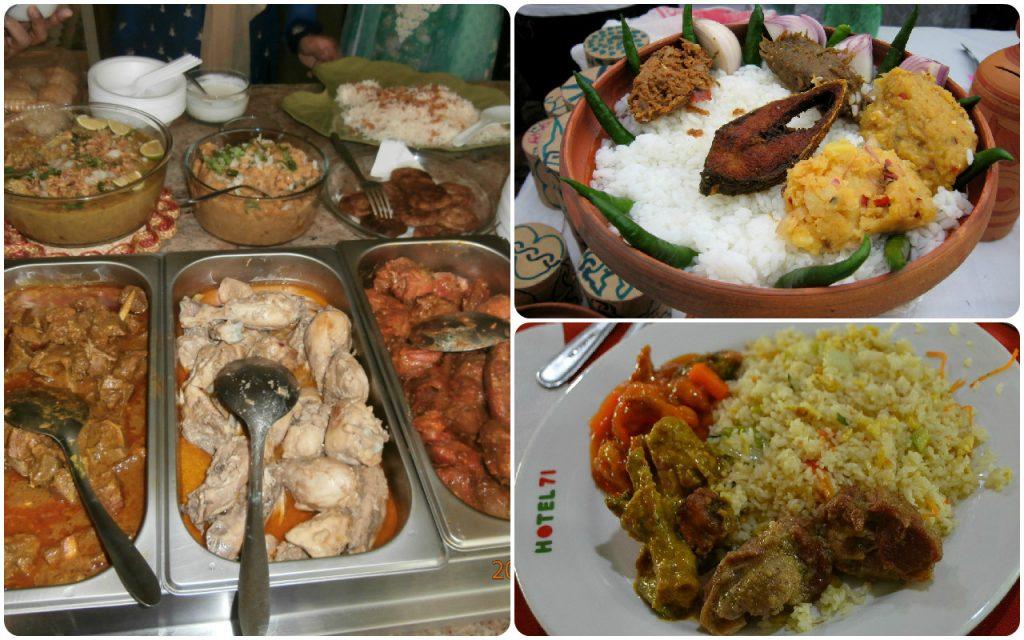 বাংলাদেশি খাবার Meat Delicacies of Bangladesh containing curries made of beef, mutton and chicken