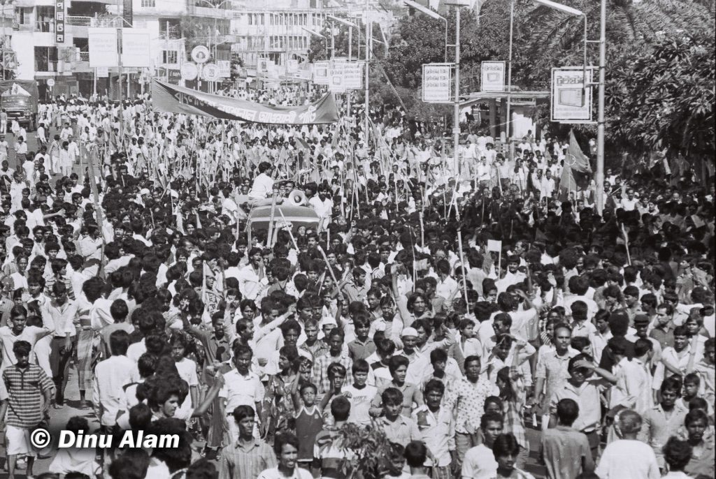 Mass rally of Dhaka blockade, November 10, 1987. Photo courtesy: Dinu Alam