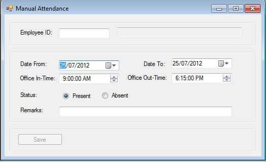 Manual attendance data entry form